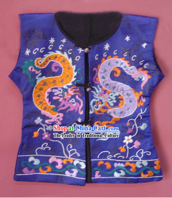 Stunning Miao Tribe Silk Thread Hand Embroidery Dragon Jacket for Child