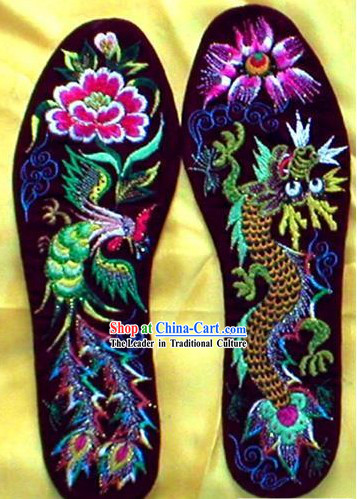 Chinese Hand Embroidery Insole-Dragon and Phoenix Love