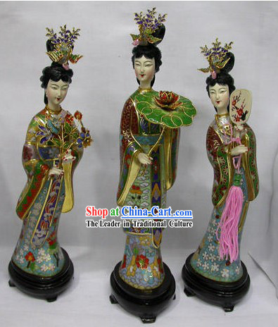 Chinese Cloisonne and Jade Ancient Lady