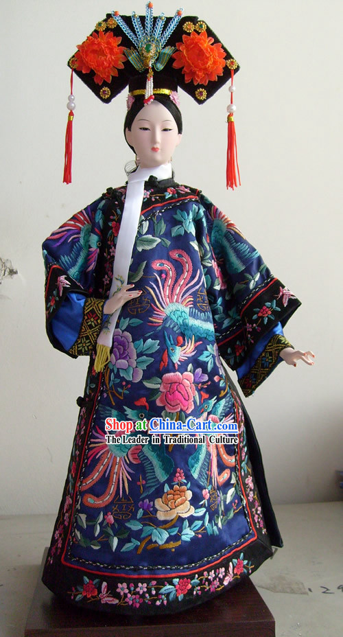 Large Handmade Embroidery Peking Silk Figurine Doll Collection - Ci Xi Empress