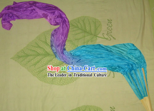 Chinese Colour Transition Silk Fan with Long Fabric