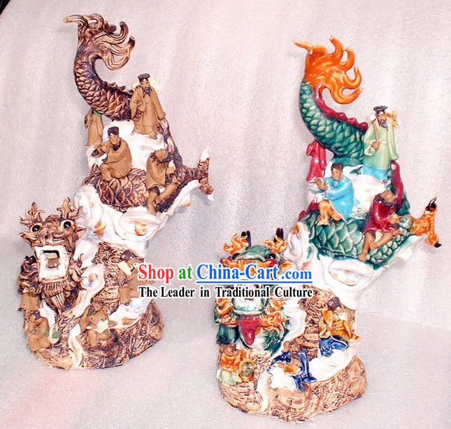 Chinese Classic Shiwan Ceramics Statue-Eight Fairies Crossing Dragon on Dragon