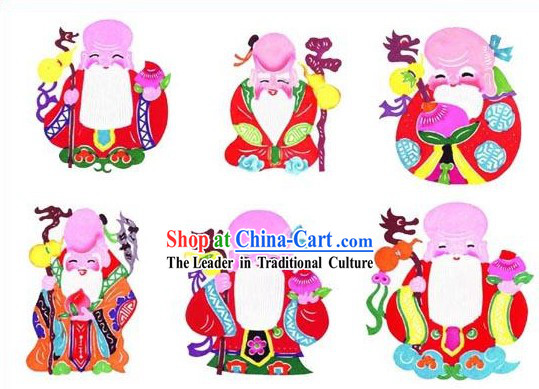 Chinese Classical Longevity Papercuts _6 Pieces Set_