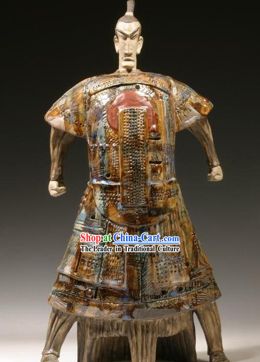 Chinese Classic Shiwan Ceramics Statue Arts Collection - Nameless Hero