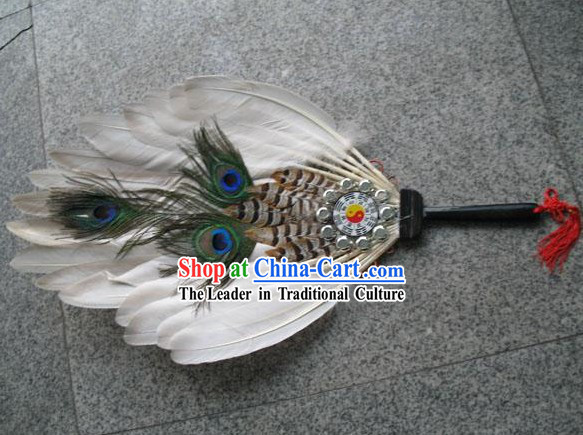 Hand Made Chinese Ancient Peacock Fan (the Eight Diagrams Design)