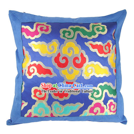Chinese Traditional Handmade Seven Colors Lucky Cloud Cushion Cover (blue)
