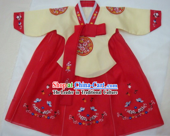 Korean Classic 100% Handmade Lucky Red Hanbok for Children