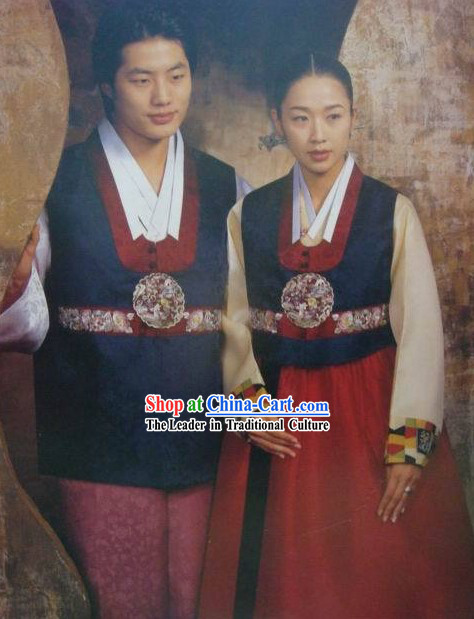 Korean 100% Handmade Korean Hanbok for Couple-Blue Lovers