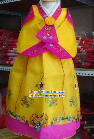 Korean Traditional Handmade Hanbok for Children Girls (yellow)