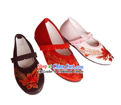 Chinese Traditional Handmade Embroidered Satin Shoes for Children _phoenix_
