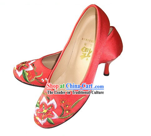 Chinese Classical Handmade and Embroidered High Heel Wedding Shoes _lily_