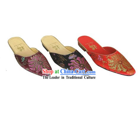 Chinese Traditional Handmade Satin Slipper _chrysanthemum_