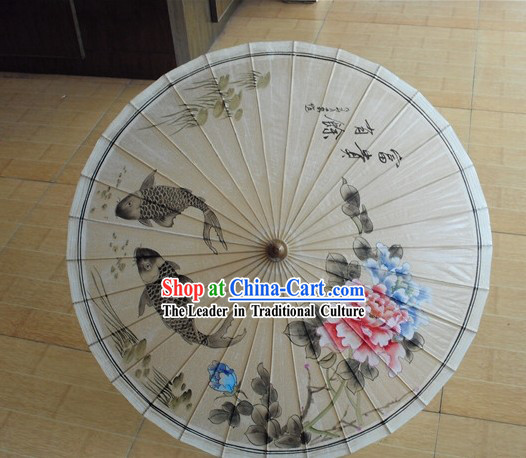 Traditional Chinese Hand Painting Beach, Rain and Sun Umbrella - Fish and Peony