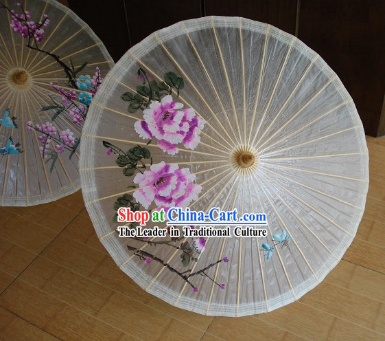 Traditional Chinese Hand Beach, Rain and Sun Umbrella - Large Peony Painting