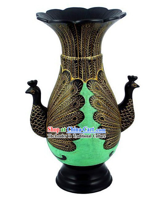 Chinese Traditional Longshan Black Pottery - Peacock
