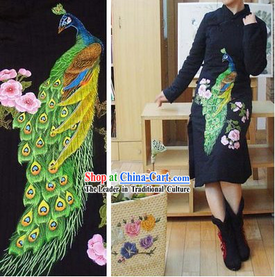 Supreme Chinese Black Hands Painted Peacock Winter Cotton Cheongsam