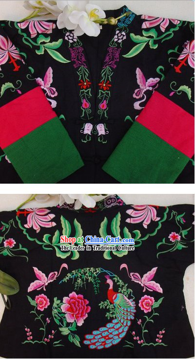 Supreme Chinese Black Flower and Butterfly Winter Cotton Jacket