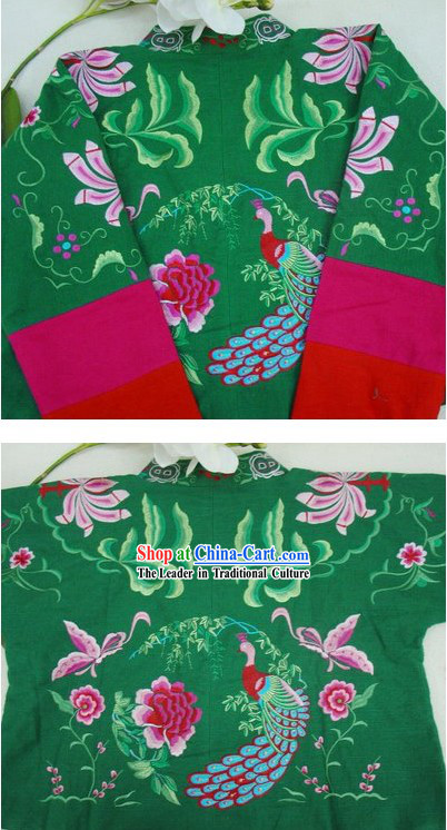 Supreme Chinese Green Flower and Butterfly Winter Cotton Jacket
