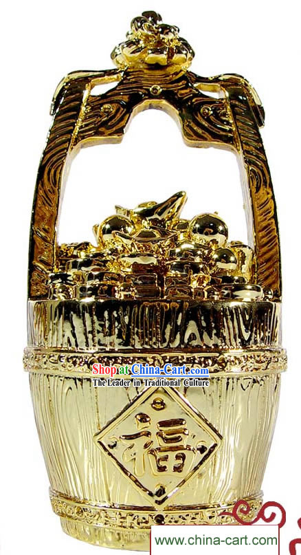 Kai Guang Golding Feng Shui Pail of Gold _gathering treasures and success_