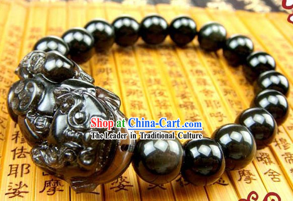 Kai Guang Feng Shui Chinese Obsidian Pi Xiu Bracelet for Men _getting off evil_
