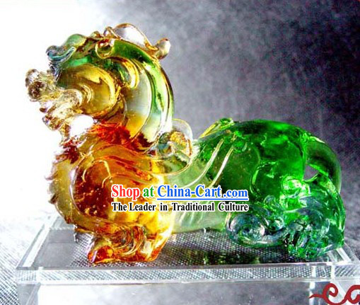 Chinese Coloured Glaze Feng Shui Pi Qiu _avoiding evil and keep wealthy_
