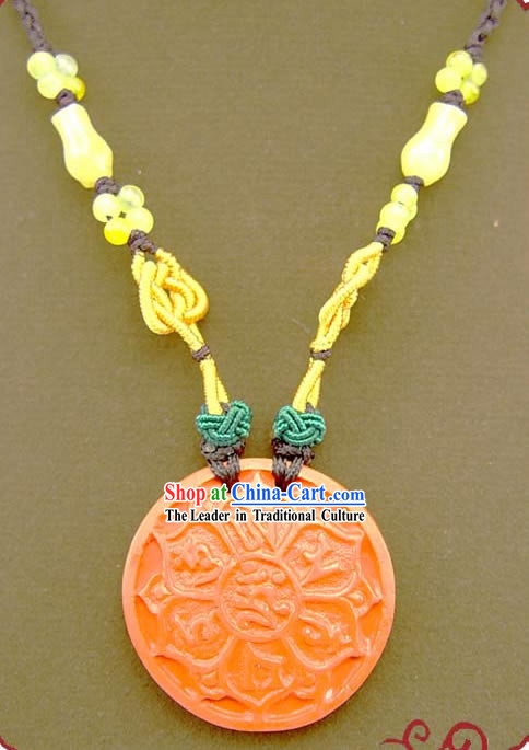 Chinese Feng Shui Kai Guang Vermilion Lotus Necklace _ancient prayer and blessing_