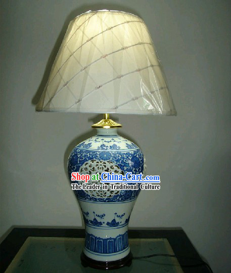 Chinese Classic Jing De Zhen Ceramic Blue-and-white Hollowed-out Reading Lamp