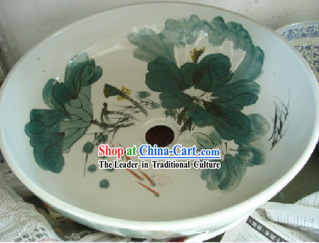 Chinese Classic Jing De Zhen Ceramic Hands Painted Lotus Bathroom Basin