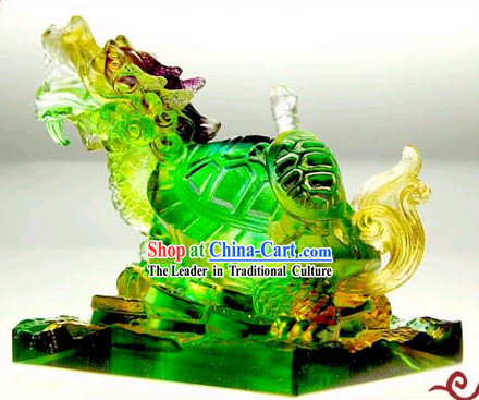Chinese Classic Feng Shui Coloured Glaze Dragon Tortoise _wealthy children_