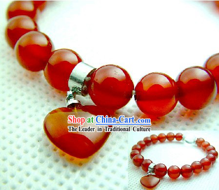 Chinese Classic Kai Guang Red Agate Tibet Silver Bracelet _keep peace and safe_