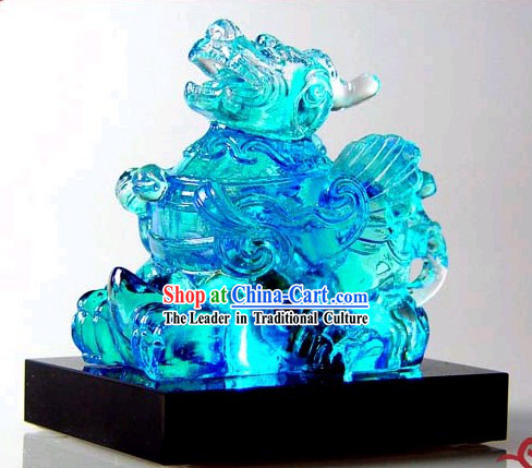 Chinese Classic Kai Guang Blue Colored Glaze Pi Xiu _avoid bad and bring luck_