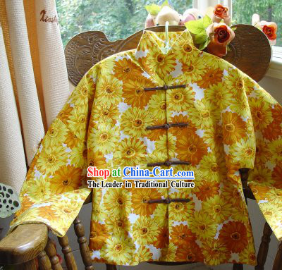 Chinese Classic Mandarin Collar Sunflower Field Cotton Blouse