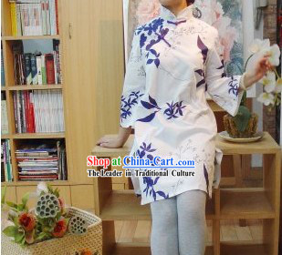Chinese Traditional Mandarin Collar Long Cotton Blouse