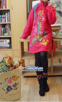 Supreme Chinese Traditional Pearls Pink Phoenix Warm Cotton-padded Jacket