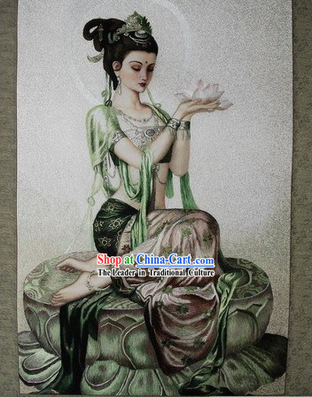 Supreme Chinese All Hand Embroidery Handicraft - Lotus Kwa-yin