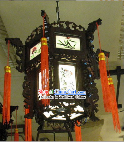 Chinese Classical Wooden Ceiling Palace Lantern - Ancient Plants