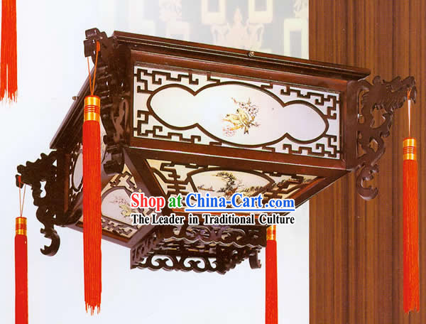 47 Inches Height Chinese Traditional Natural Wood Floor Lantern