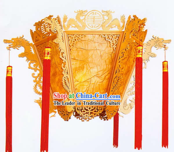 38 Inches Super Large Chinese Hand Made Wooden Ceiling Lantern - Dragons Playing Ball