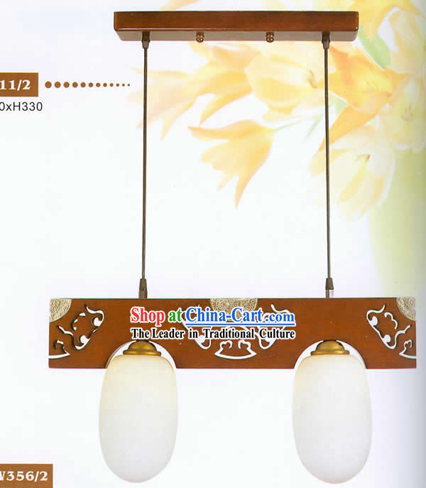 Chinese Traditional Hand Made Wooden Hanging Lantern with Hand Carved Vein