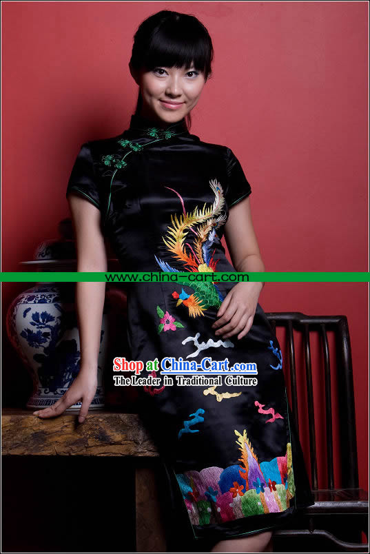 Stunning All Hand Embroidery Phoenix Black Silk Cheongsam _Qipao_