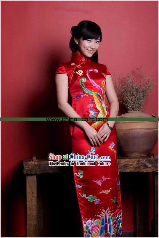 Stunning All Hand Embroidery Phoenix Red Silk Long Cheongsam _Qipao_