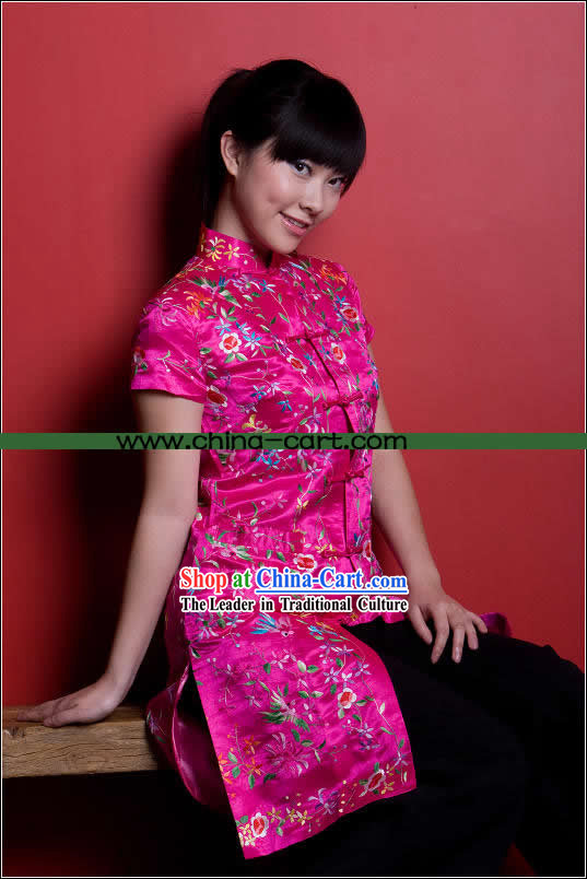 Traditional Chinese Stunning Hand Embroidered Flower Garment _pink_