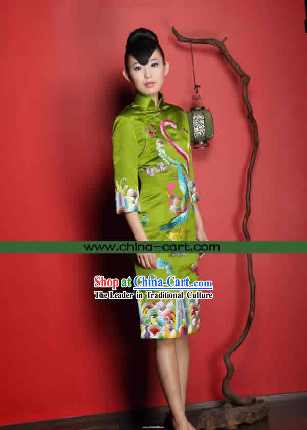 Stunning All Hand Embroidery Phoenix Red Silk Cheongsam _grass green_