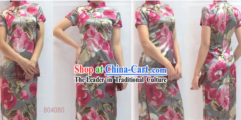 Chinese Classical Pink Floral Silk Cheongsam (Qipao)