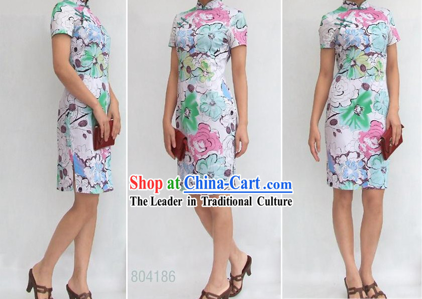 Chinese Stunning Three Colors Flower Cotton Cheongsam (Qipao)
