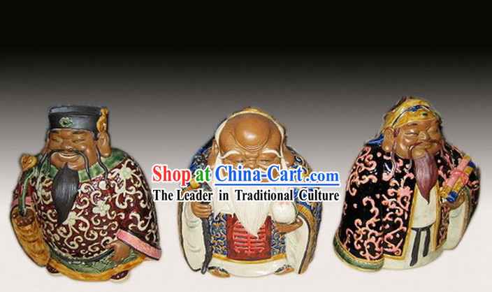 Chinese Classic Shiwan Ceramics Statue Arts Collection - God of Lucky, Healthy and Wealthy