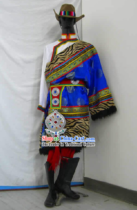 Chinese Traditional Tibet Minority Dance Costume and Hat Complete Set for Men