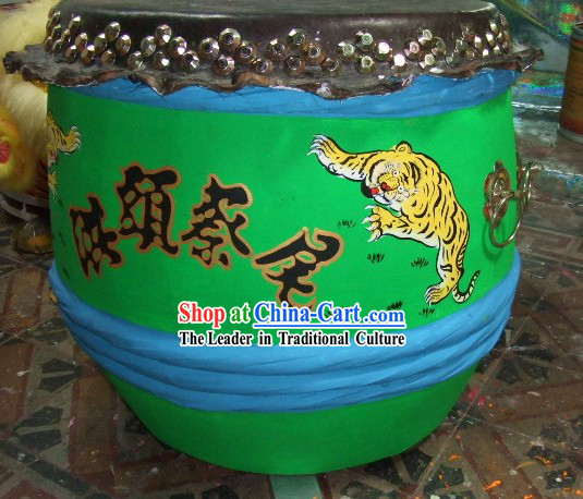 Supreme Chinese Luminous Large Hand Painted Kung Fu Tiger Wooden and Cowhide Drum _glow in dark_