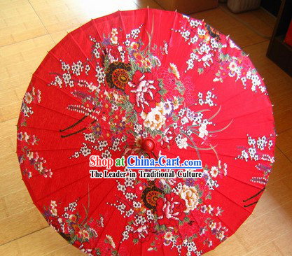 Chinese Traditional Handmade Lucky Red Flowery Umbrella