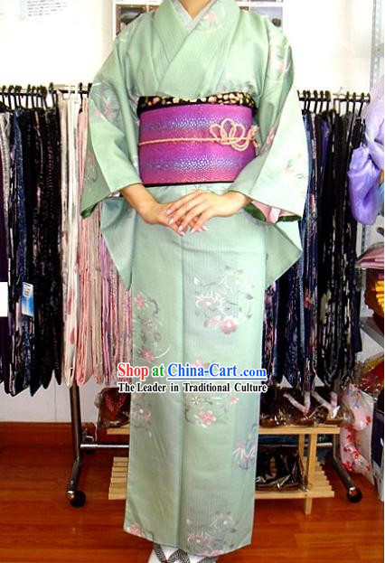 Traditional Japanese Romantic Light Blue Kimono and Belt Complete Set